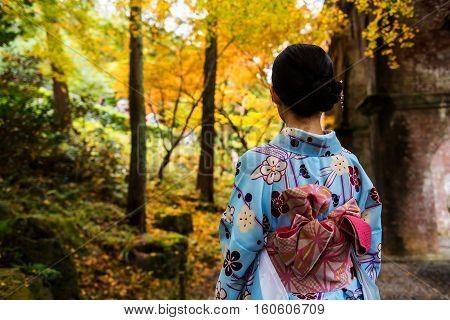 Kimono Girl At Nanzen-ji Temple At Autumn, Kyoto