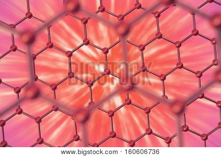 3d rendering nanotechnology hexagonal red geometric form close-up, concept graphene atomic structure