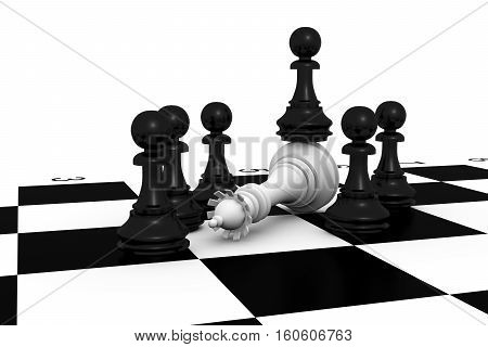 On chess board black pawns have surrounded turn white queen Queen and pawns 3d illustration