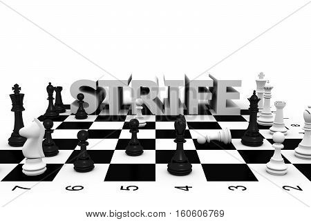 chess strife fight white background 3d illustration