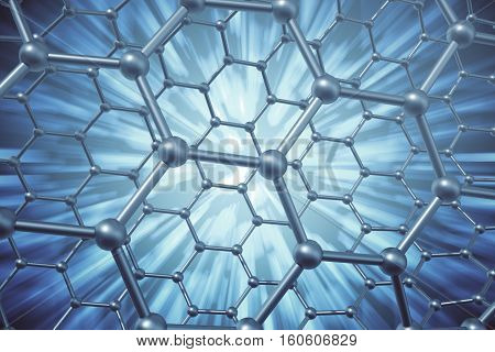 3d rendering blue abstract nanotechnology hexagonal geometric form close-up, concept graphene molecular structure