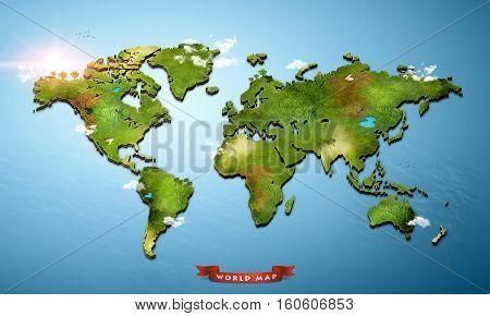 Realistic 3D World Map (3D Illustration map)