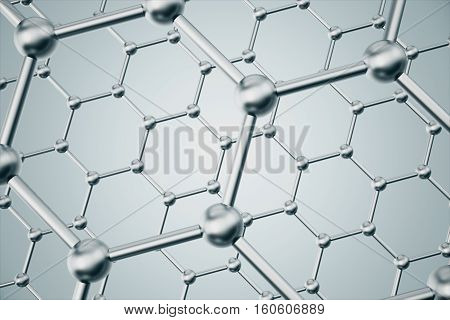 3d rendering silver abstract nanotechnology hexagonal geometric form close-up, concept graphene atomic structure