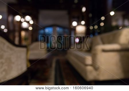 Beautiful Luxury Hotel Lobby Lounge Interior, Blur Background