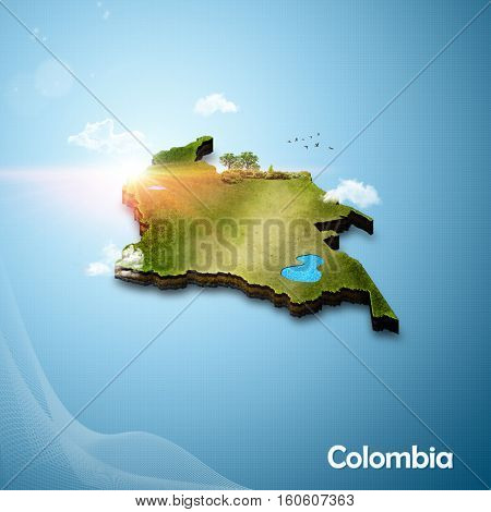 Realistic 3D map of Colombia (3D illustration)