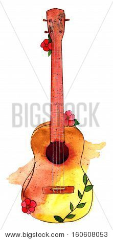 A freehand watercolor drawing of a golden ukulele with red flowers, isolated on white background