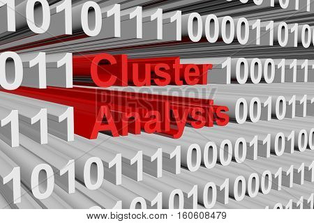 cluster analysis as a binary code 3D illustration
