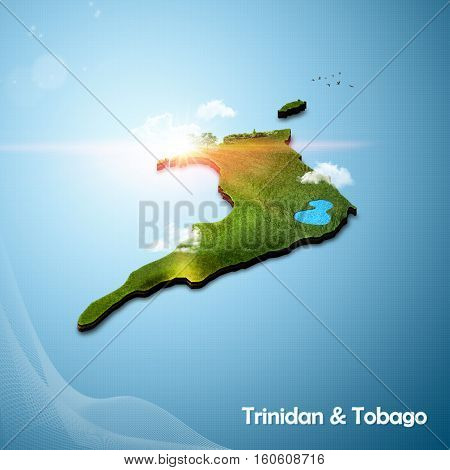 Realistic 3D map of Trinidad and Tobago (3D illustration)