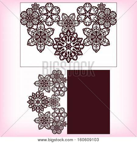 Laser cutting template envelope card with snowflakes ornament. For christmas greeting cards, envelopes, invitations. Size 150 mm x 100 mm. Vector illustration.