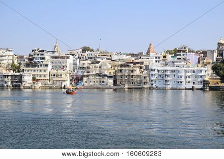 Amazing view of Udaipur from lake Pichola, Rajasthan, India
