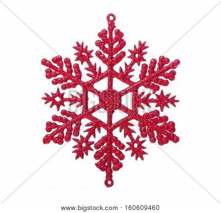 Christmas bauble in shape of snowflake  isolated on white background
