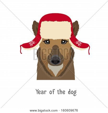 Vector dog head in winter new year, christmas ear-flapped hat. Animal of Chinese zodiac, horoscope symbol. flat cartoon illustration isolated. Poster, banner, print advertisement, web design element