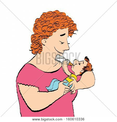 Joyful woman feeds the baby milk from a bottle. Childhood and motherhood. Son and mom