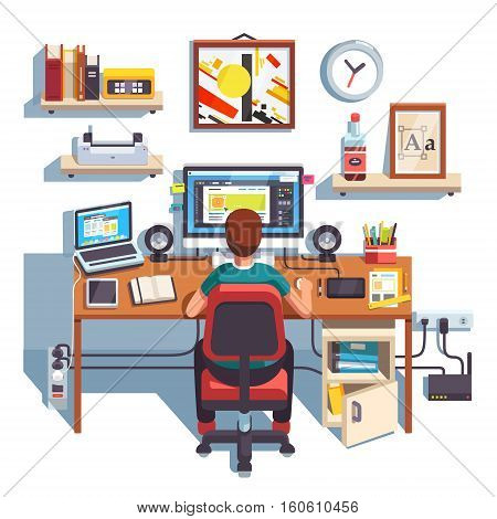Professional designer working on a site project at his big desk with laptop computer and big display accompanied by drawing pen tablet. Flat style color modern vector illustration.