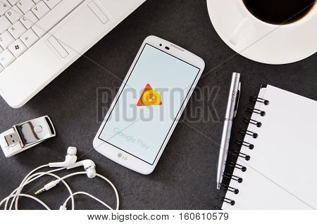 WROCLAW POLAND - DECEMBER 06th 2016: LG K10 with Google Play Music application laying on desk. Google Play Music is a music streaming service operated by Google.
