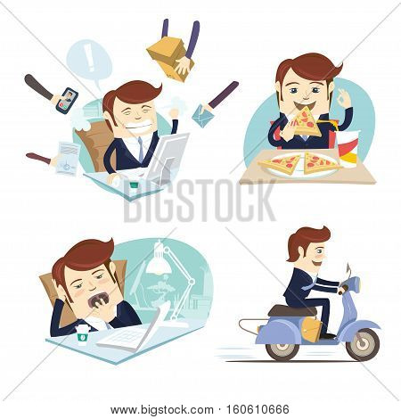 Funny Business Man Wearing Suit Eating Pizza, Working Hard,sleeping And Yawning And Riding Scooter A
