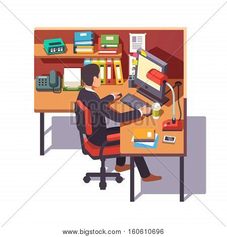 Corporate worker clerk doing his job sitting on chair at the office cubicle desk. Flat style color modern vector illustration.