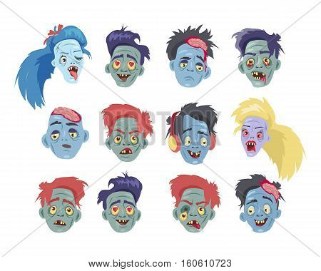 Zombies heads collection. Variety faces of undead monsters with love, sadness, anger, fun, confusion, joy emotions flat vector illustrations set isolated on white background. For halloween concepts