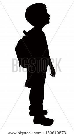 school boy body black color silhouette vector
