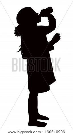 a girl drinking water, black color silhouette vector
