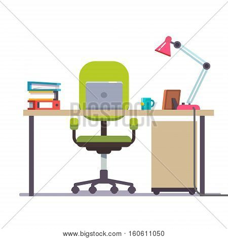 Home or office desk with casters chair, laptop computer, some papers, binder and tea cup. Front view. Flat style color modern vector illustration.