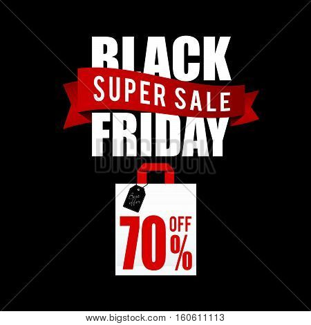 Balck Friday With Paper Bag Sale Color Illustration