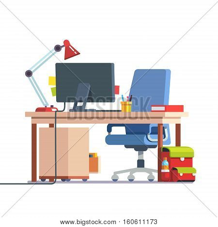 Kids home learning and study desk with casters chair, desktop computer, book, table lamp and school backpack. Front side view. Flat style color modern vector illustration.