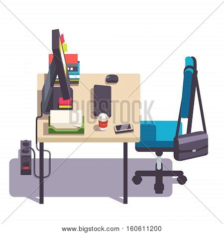 Home or office desk with casters chair, desktop computer, some papers and binders. Side view. Flat style color modern vector illustration.