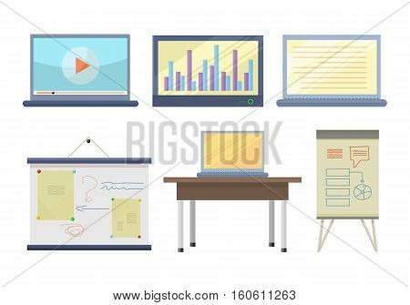 Set of tools for seminar and lecture illustration. Flat design. Notebook, laptop, multimedia screen, board, table, computer, clip chart vectors for educational concepts. Isolated on white background.