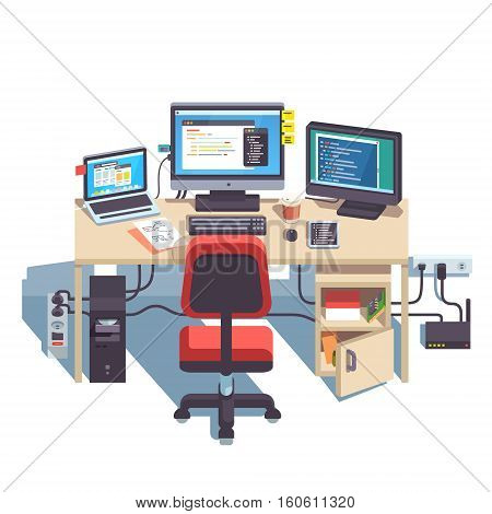 Professional programmer working desk setup with opened project on the monitors. Big table with multiple displays and laptop computer. Flat style color modern vector illustration.