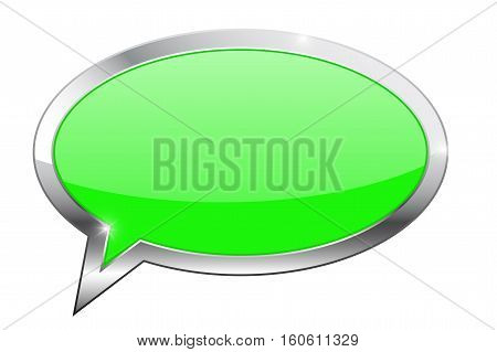 Green dialog bubble with chrome frame. Vector illustration isolated on white background