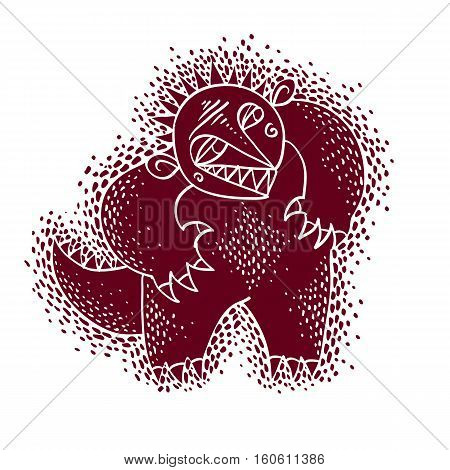 Comic Character, Vector Funny Alien Red Monster. Emotional Expression Idea Graphic Symbol, Design El