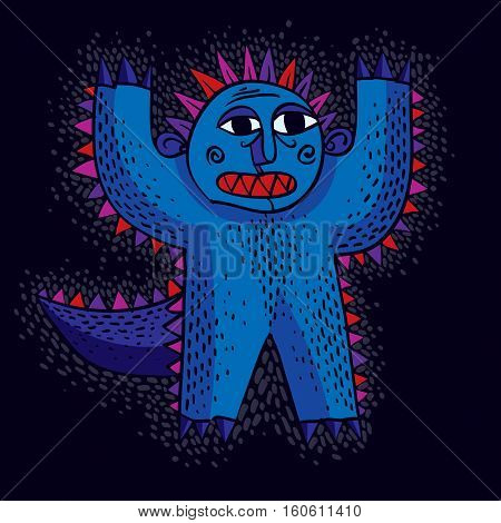 Vector Cool Cartoon Scared Monster With Hands Up, Simple Weird Creature. Clipart Mythic Character Fo