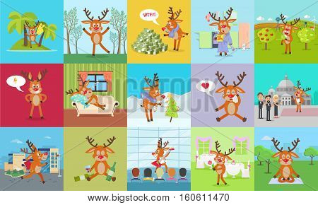 Deer daily activity vector set. Reindeer at holidays, in forest, conservatory, restaurant, school, home, sleeping, confused, disappointed. Cute mammal emotions and states of mood in flat style. Vector