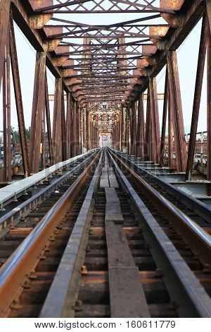 Old steel Long Bien bridge in Hanoi, Vietnam