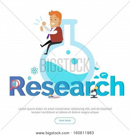 Research conceptual web banner. Happy applauding man seating on huge laboratory flask, books, microscope, magnifier, atom icons beside. For laboratory, scientific research center landing page design