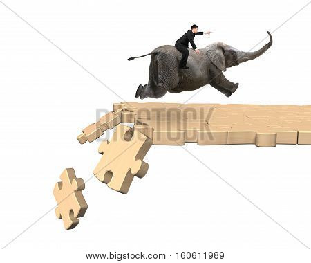 Man Riding Elephant On Breaking Puzzle Path