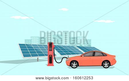 modern electric car charging at the charger station in front of the solar panels big city skyline in the background flat style illustration