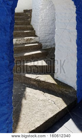 Flight of steps in the Casino at Portmeirion in Wales. The flight of steps actually comes to a dead end.