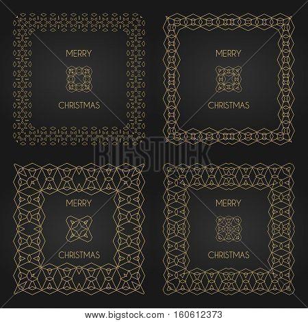 Golden Decorative Frames Set. Vector Design Templates. Creative Intricate Borders. Merry Christmas T