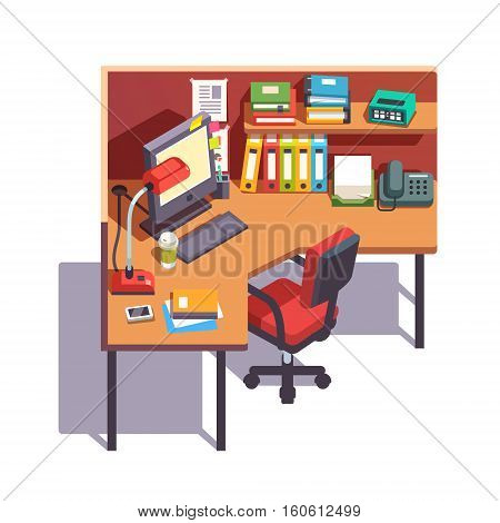 Office cubicle working desk with desktop computer, paper binders, books, notepads, telephone and table lamp. Top side view. Flat style color modern vector illustration.