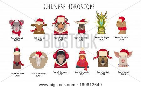 Vector animal Heads in red caps and scarfs of the Chinese horoscope isolated. Vector cartoon, flat. Mouse cow horse tiger dragon sheep rooster monkey dog pig rabbit snake. Design element object