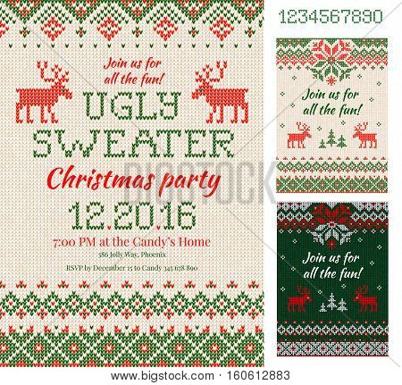 Ugly Sweater Christmas Party Cards. Knitted Pattern. Scandinavian Style Deers