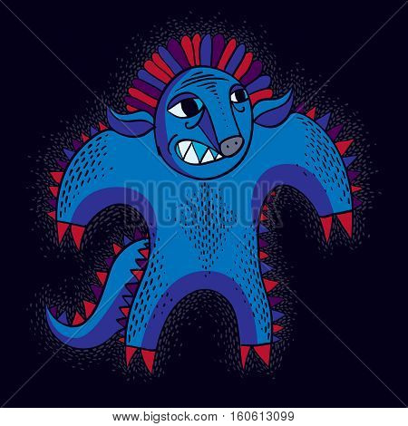 Vector Cool Cartoon Angry Monster, Blue Freak Creature. Clipart Mythic Character For Use In Graphic