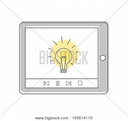 Lamp isolated on the tablet screen. Video marketing. Approaches, methods and measures to promote products and services based on video. Online video, internet technology and media social marketing