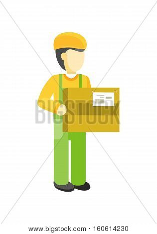 Delivery man holds package in his hands. Manager deliver goods to designated place. Equipment delivery process of warehouse. Loader man isolated on white background. Business delivery of cargo. Vector