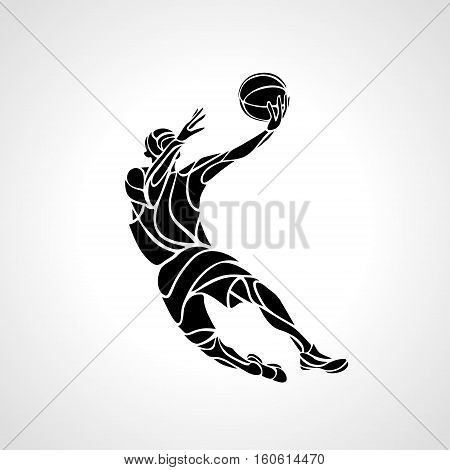 Basketball player. Slam Dunk Silhouette. Vector illustration