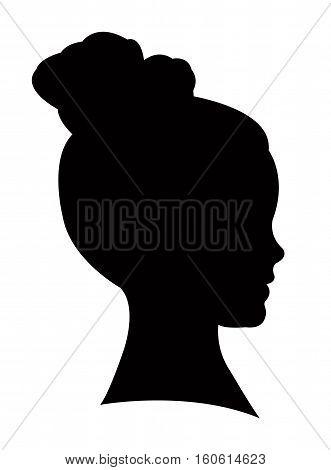 a kid head black color silhouette vector