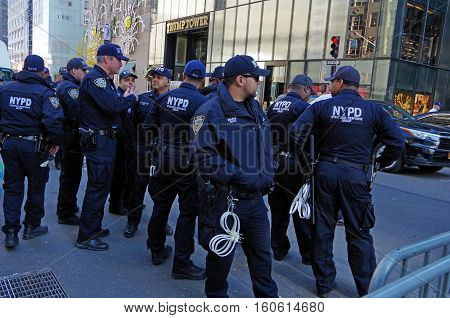 New York, New York-November Nineteenth: New York City Police Department provide security for Trump Tower. November 19th 2016 at 5th Avenue between East 56th and East 57th Street, NYC