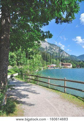Hiking Trail at Lake Haldensee in Tannheimer Tal,Tirol,Austria